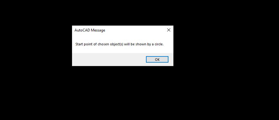 AutoCAD warning, Start point of chosen object will be shown by a circle